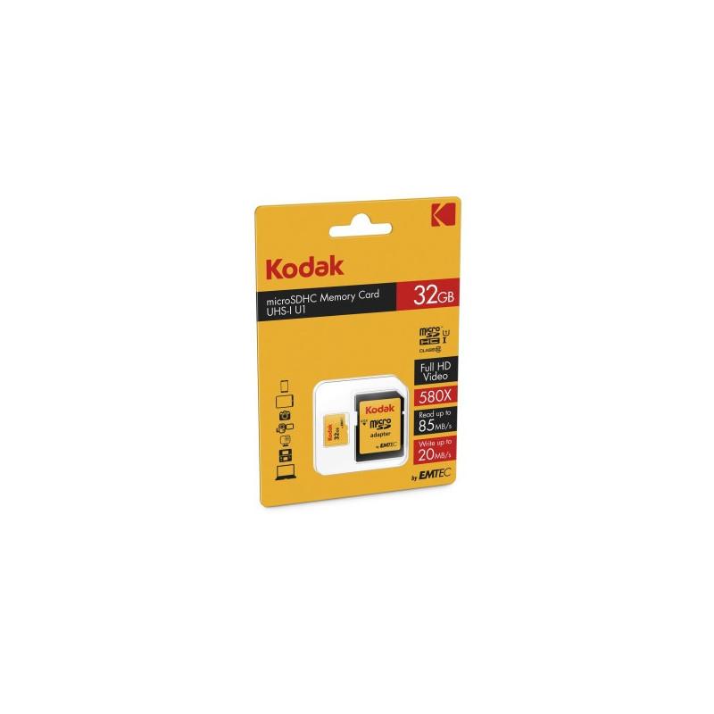 Kodak 32GB MicroSDHC 85/MBs Classe 10 U1 580X con adattatore