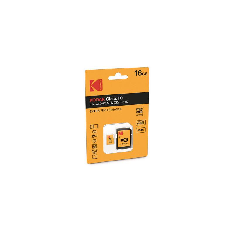 Kodak 16GB MICRO SDHC Classe 10 EXTRA PERFORMANCE CON ADATTATORE