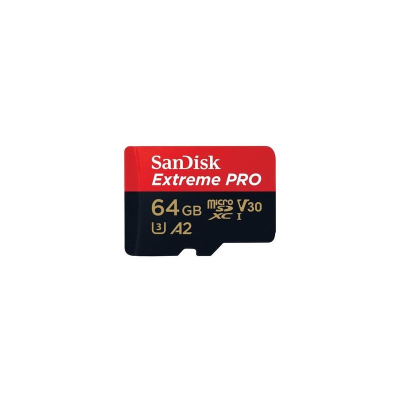 SanDisk Micro SD Extreme Pro Mobile 64GB XC  + adattatore SD (A2, V30, U3, UHS I, C10 - 170MB/s lett