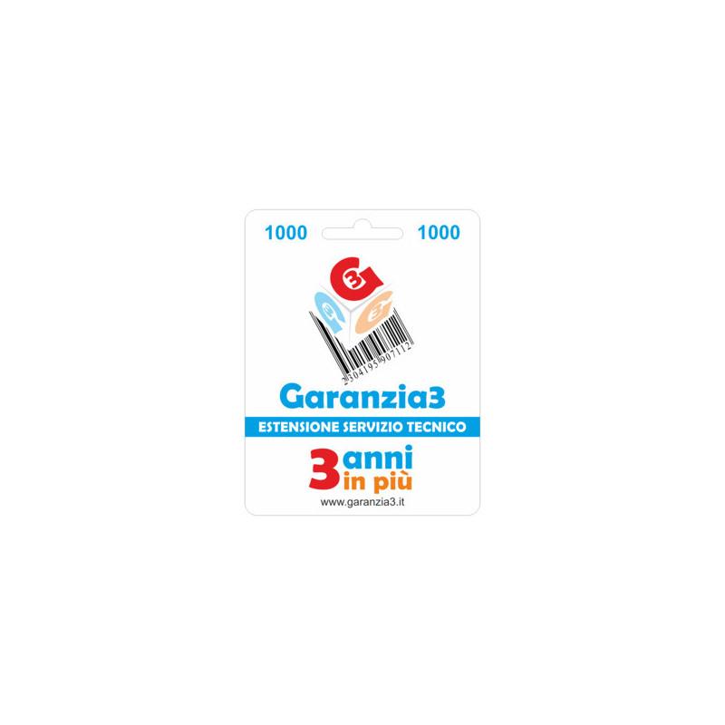 Garanzia 3 Estensione del servizio tecnico 3 Anni - prodotti  fino a € 1000.00