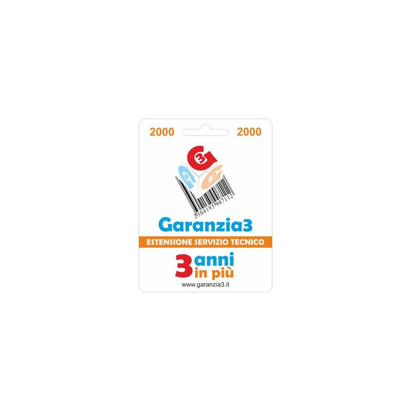 Garanzia 3 Estensione del servizio tecnico 3 Anni - prodotti fino a € 2000.00